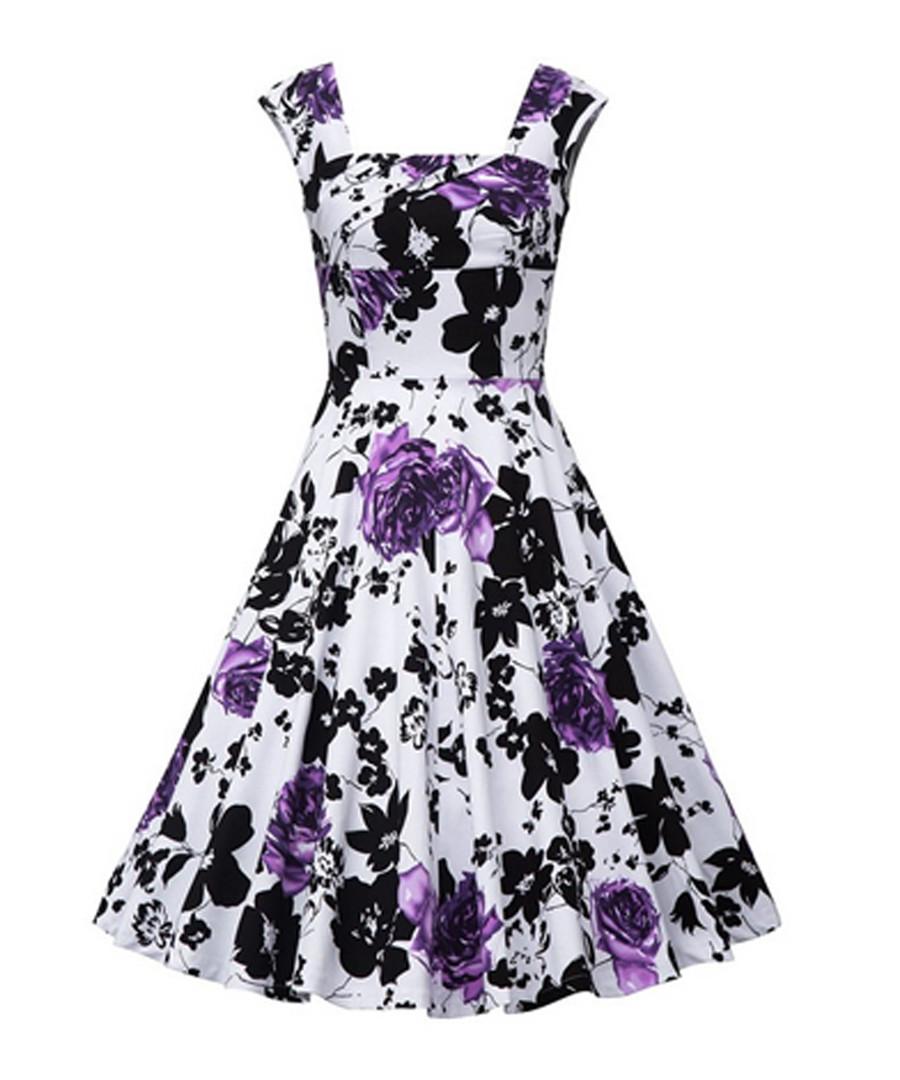 Purple floral print fit & flare dress Sale - mixinni