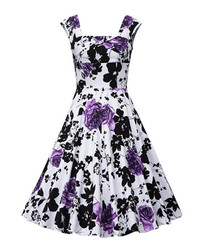 Purple floral print fit & flare dress