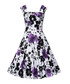 Purple floral print fit & flare dress Sale - mixinni Sale