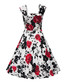 Red floral print fit & flare dress Sale - Mixinni Sale
