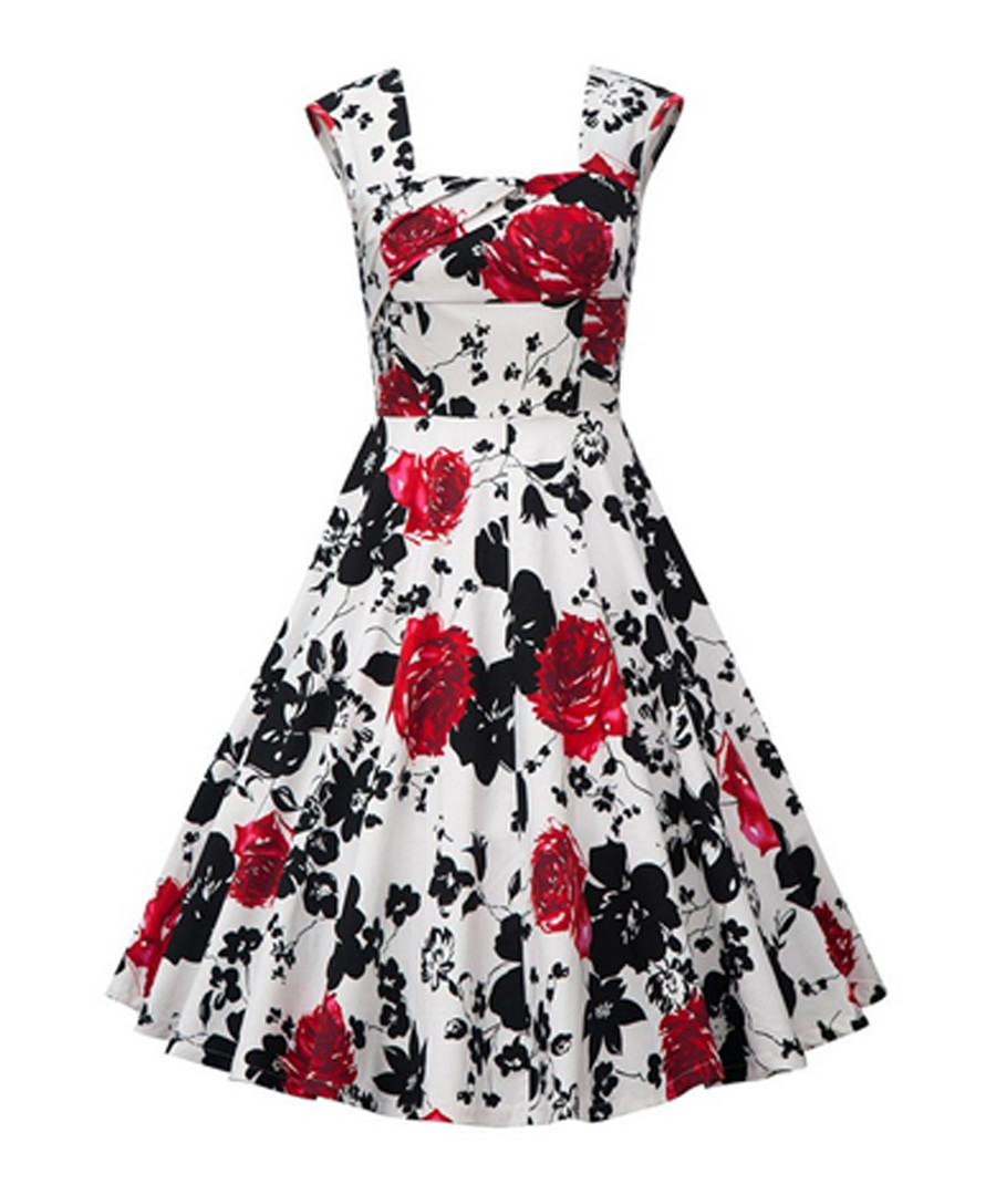 Red floral print fit & flare dress Sale - Mixinni