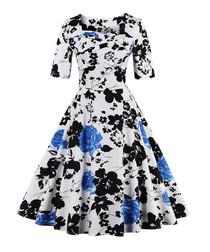 Blue floral print half-sleeve dress