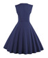 Navy polka dot A-line dress Sale - Mixinni Sale