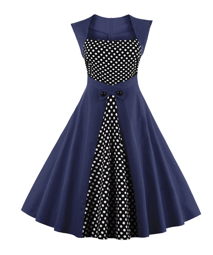 Navy polka dot A-line dress Sale - Mixinni