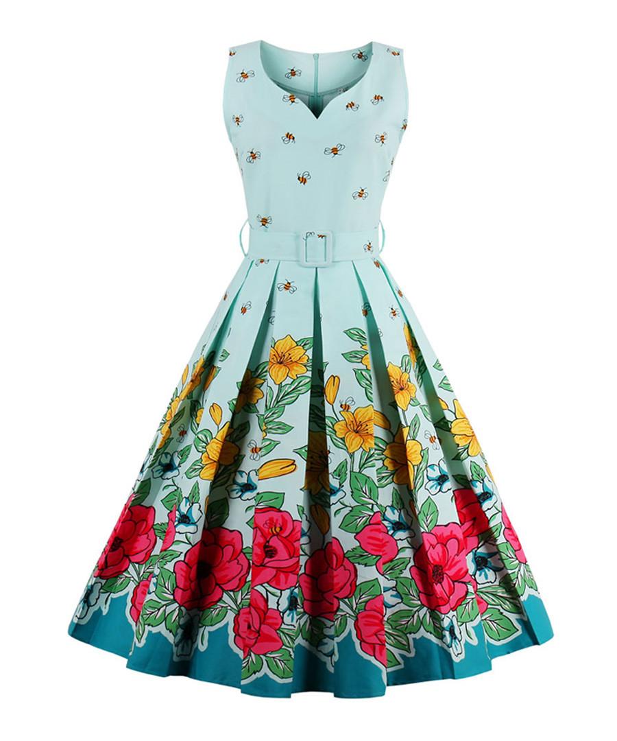 Blue floral print A-line dress Sale - Mixinni
