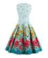 Blue floral print A-line dress Sale - Mixinni Sale