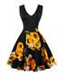 Sunflower print A-line dress Sale - Mixinni Sale