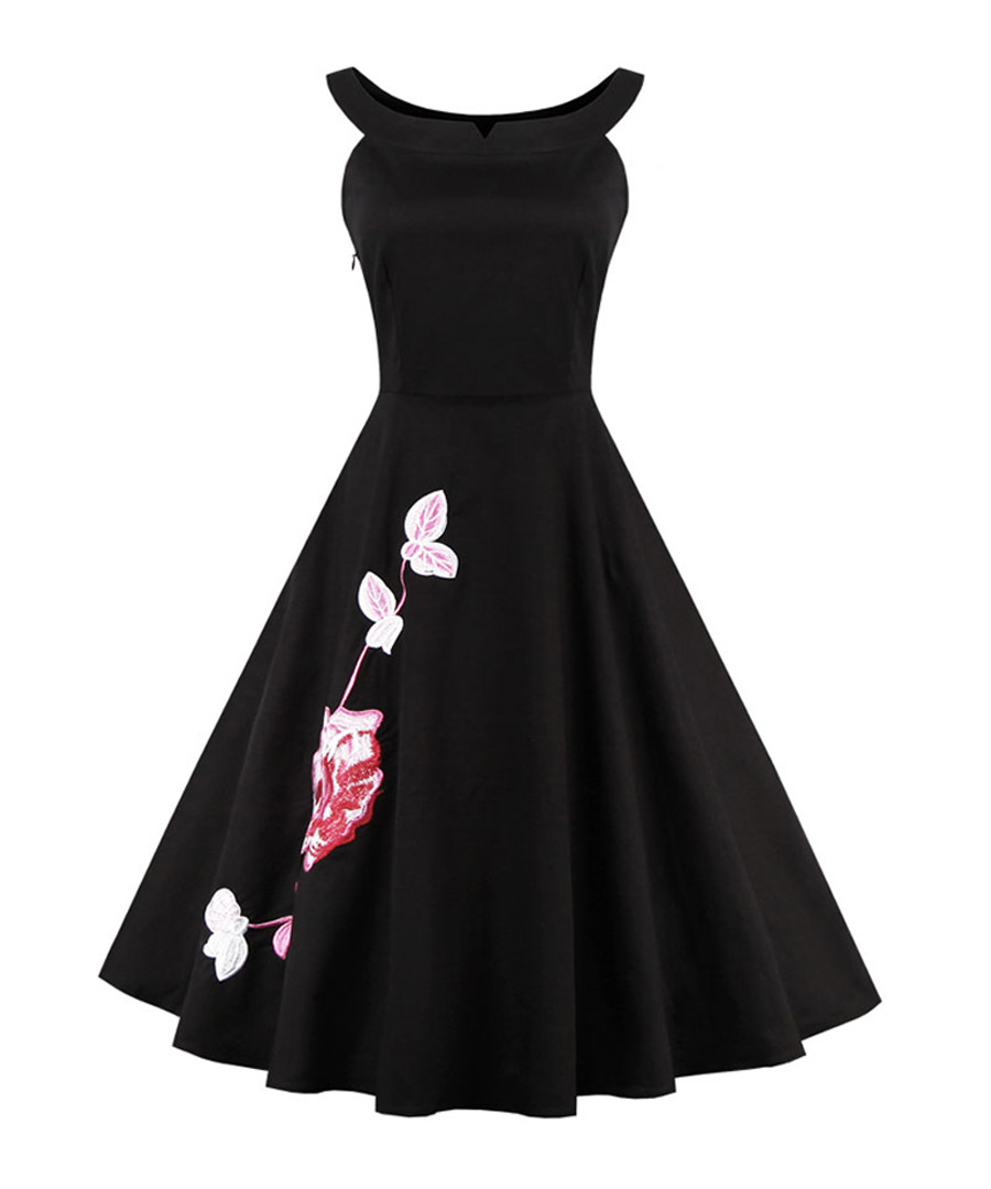 Black applique boat neck dress Sale - mixinni