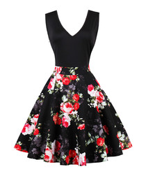 Red floral print A-line dress