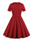 Red belted button A-line dress Sale - Mixinni Sale