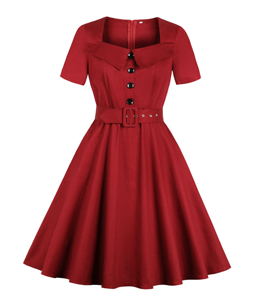Red belted button A-line dress Sale - Mixinni