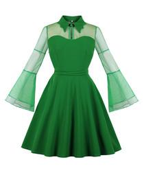 Green mesh bell sleeve mini dress