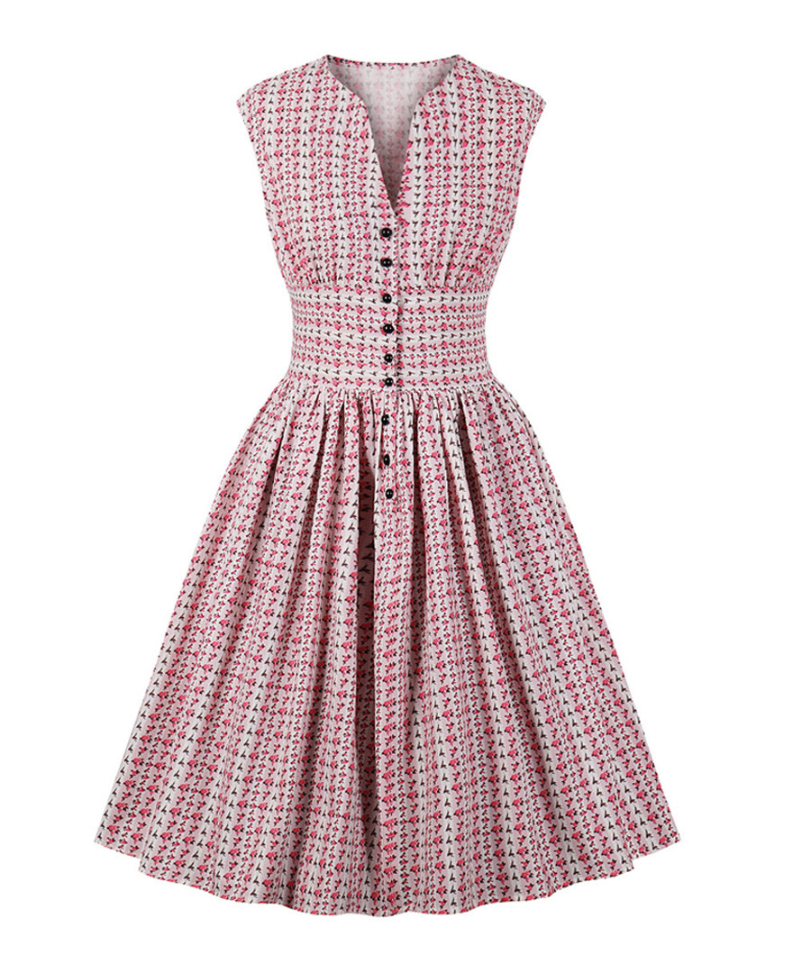 Pink print button A-line dress Sale - mixinni