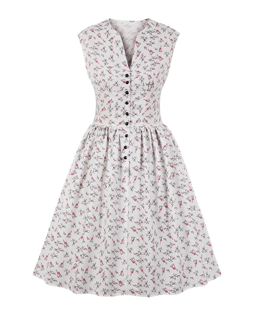 White print button A-line dress Sale - mixinni