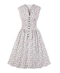 White print button A-line dress