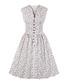 White print button A-line dress Sale - mixinni Sale