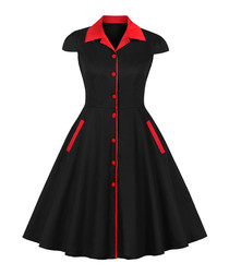 Black & red button A-line dress