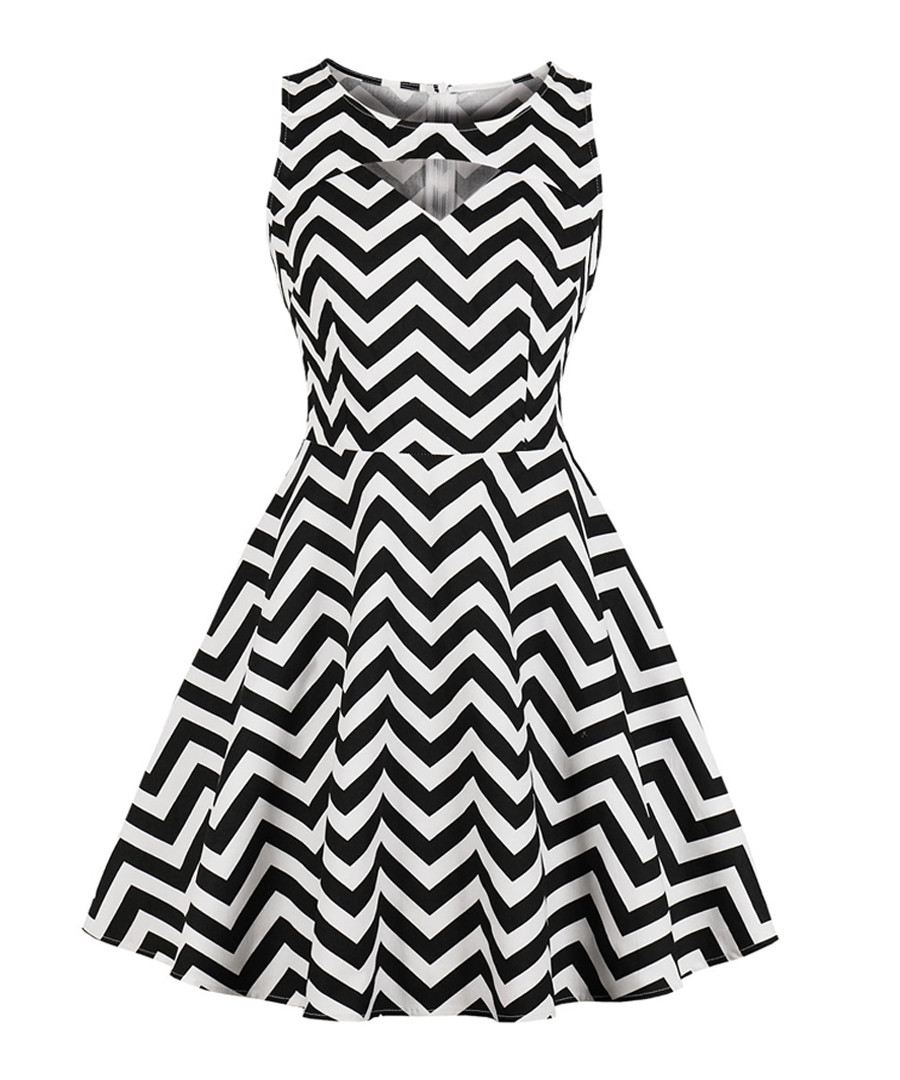Black & white zigzag mini dress Sale - Mixinni