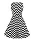 Black & white zigzag mini dress Sale - Mixinni Sale
