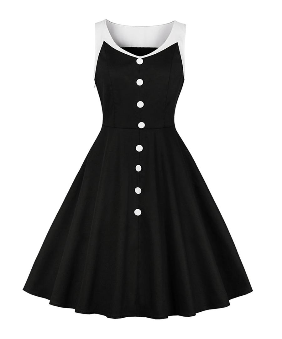 Black & white button A-line dress Sale - mixinni