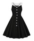 Black & white button A-line dress Sale - mixinni Sale