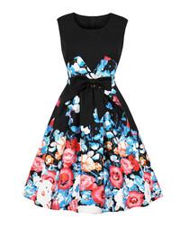 Black floral print bow A-line dress