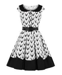 Black & white stag print A-line dress