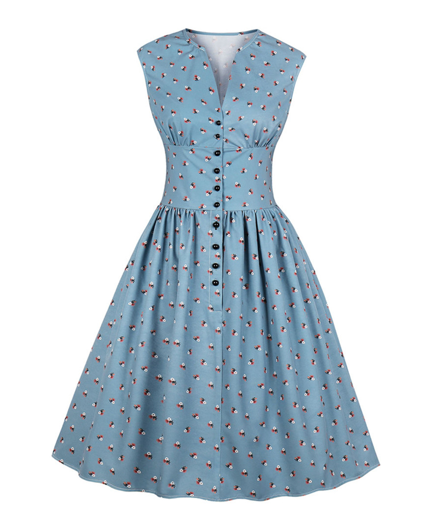Blue print button A-line dress Sale - Mixinni