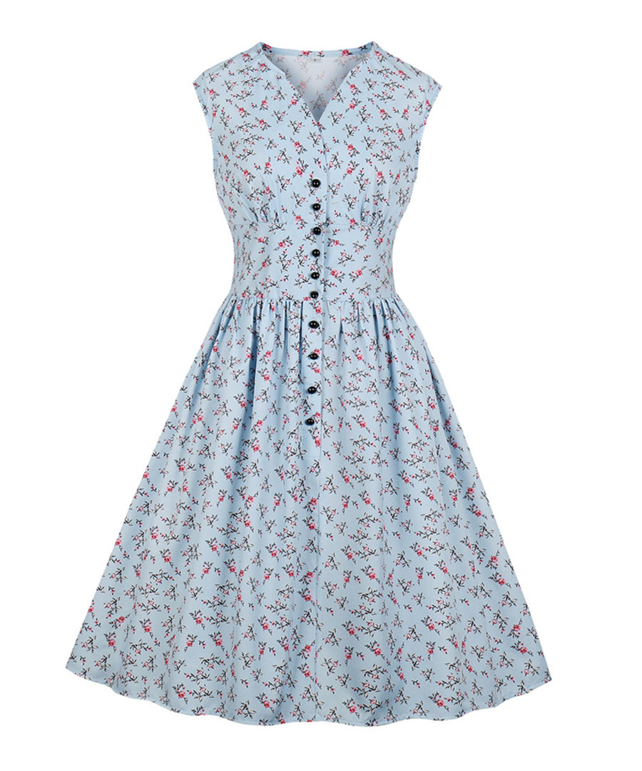 Light blue print button A-line dress Sale - Mixinni