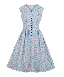 Light blue print button A-line dress