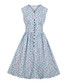 Light blue print button A-line dress Sale - Mixinni Sale