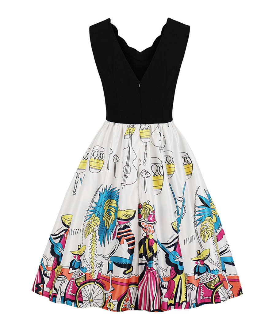 Black scallop edge scene print dress Sale - Mixinni