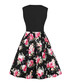 Black floral print bow A-line dress Sale - Mixinni Sale
