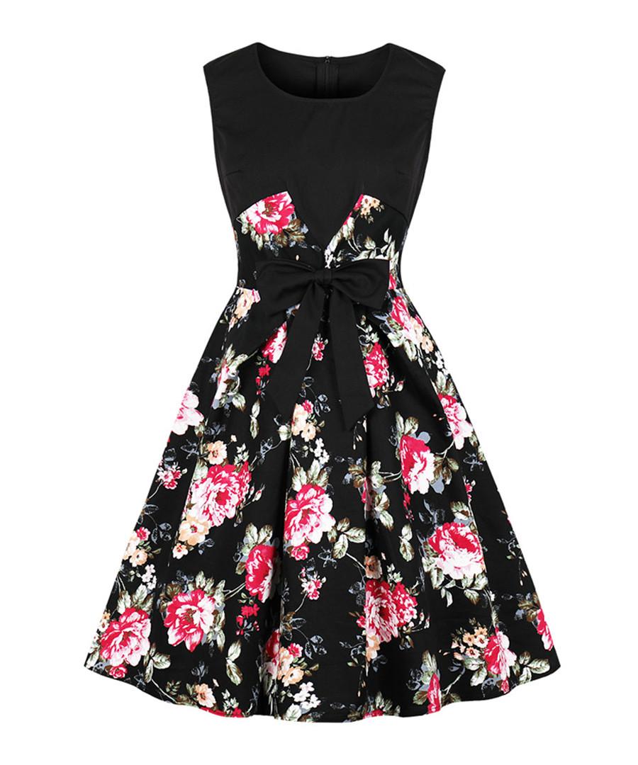 Black floral print bow A-line dress Sale - Mixinni