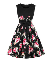 Black floral print bow A-line dress