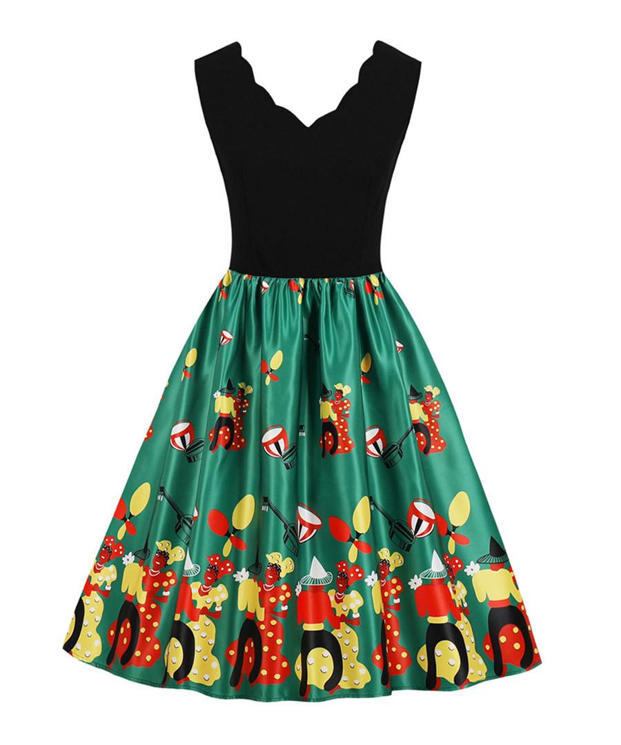 Black & green scallop edge dress Sale - Mixinni