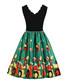 Black & green scallop edge dress Sale - Mixinni Sale