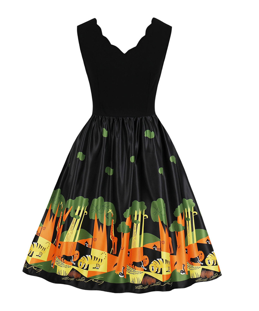 Black scallop edge scene print dress Sale - mixinni