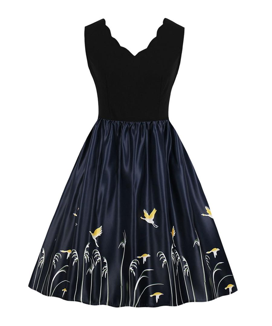 Black & midnight scallop edge dress Sale - Mixinni