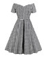 Black & white check bardot dress Sale - Mixinni Sale
