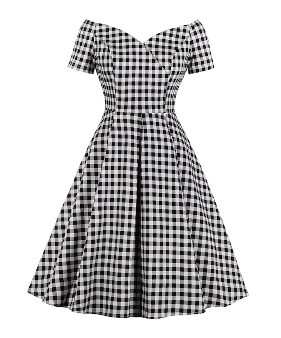 Black & white check bardot dress Sale - Mixinni