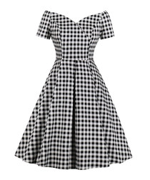 Black & white check bardot dress