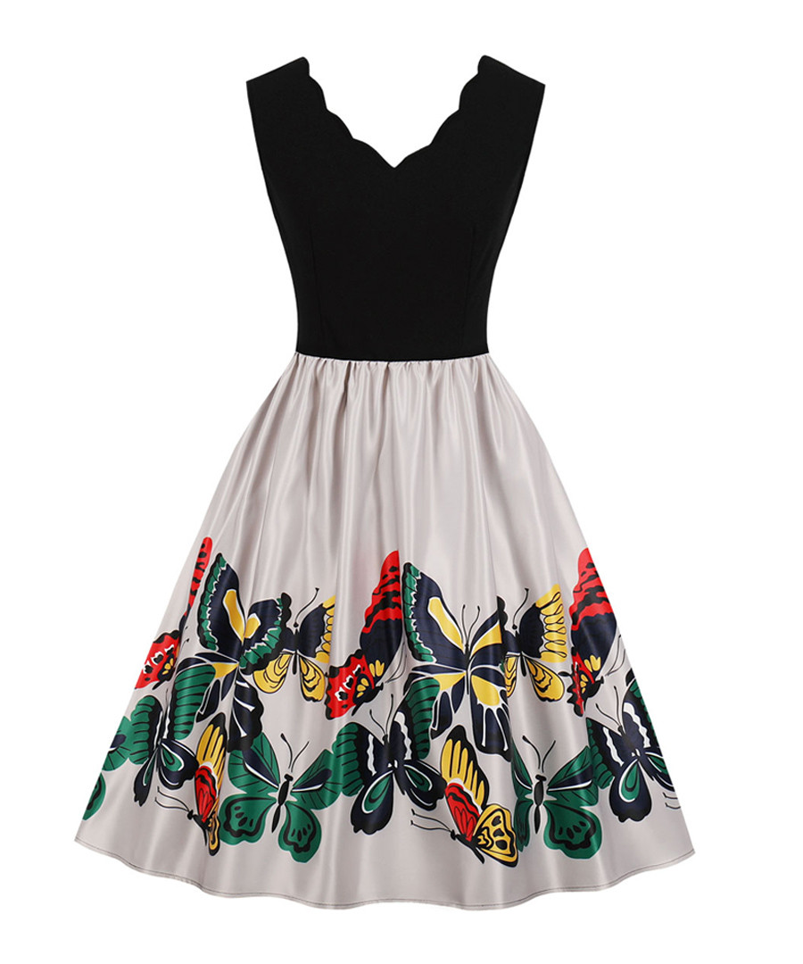 Black scallop edge butterfly dress Sale - Mixinni