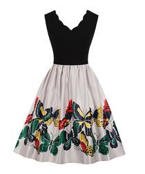 Black scallop edge butterfly dress