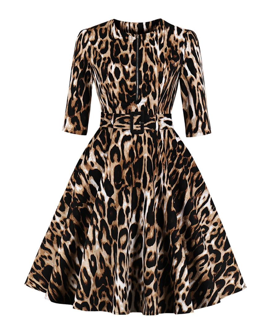 Leopard print belted A-line dress Sale - Mixinni