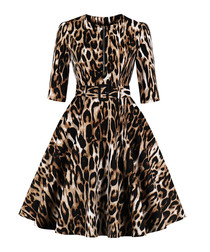 Leopard print belted A-line dress