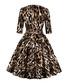 Leopard print belted A-line dress Sale - Mixinni Sale