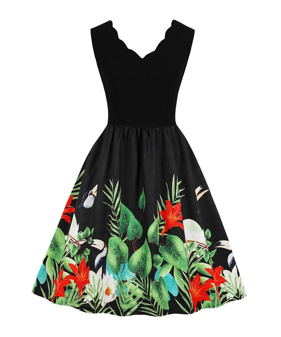 Black scallop edge tropical print dress Sale - mixinni