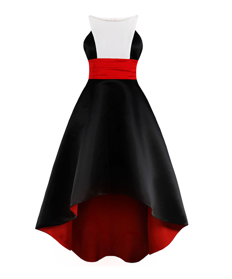 Black, white & red Grecian hi-low dress Sale - mixinni