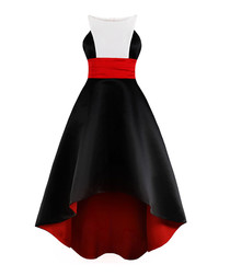 Black, white & red Grecian hi-low dress